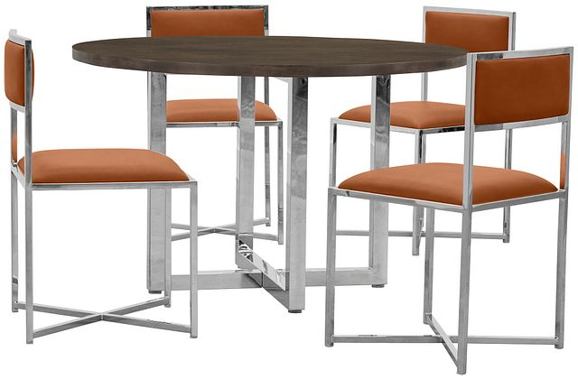 Amalfi Brown Wood Round Table & 4 Metal Chairs