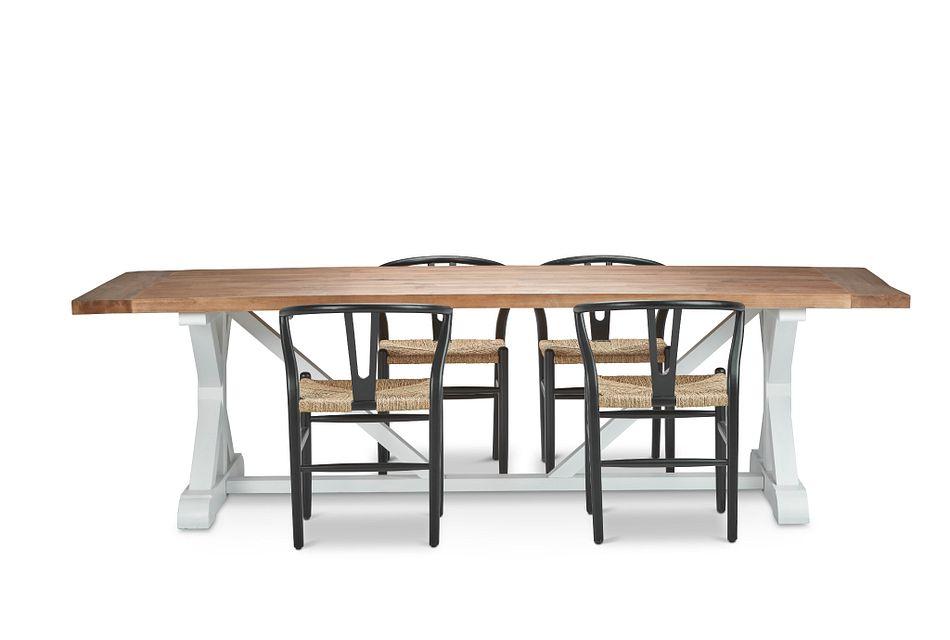 "Hilton Black 110"" Table & 4 Wood Chairs"