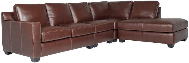 Carson Medium Brown Leather Sectional (0)