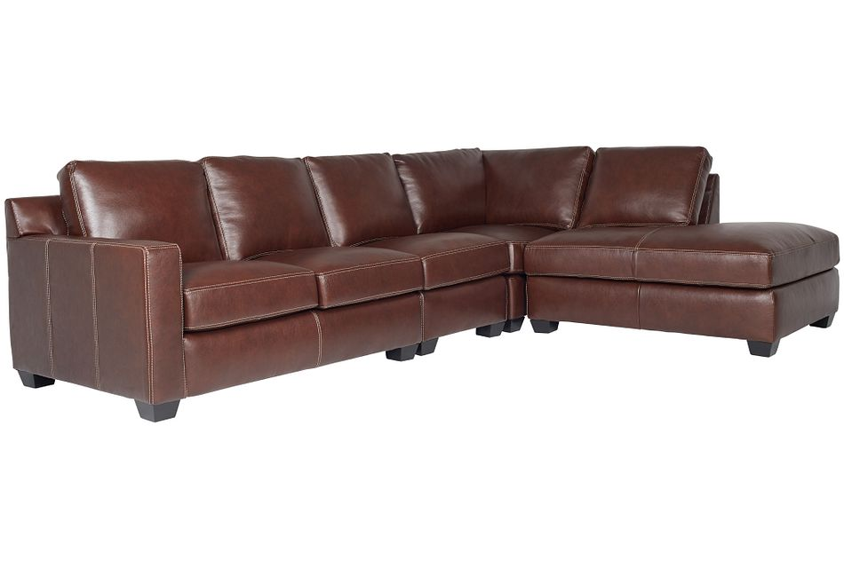 Carson Medium Brown Leather Sectional