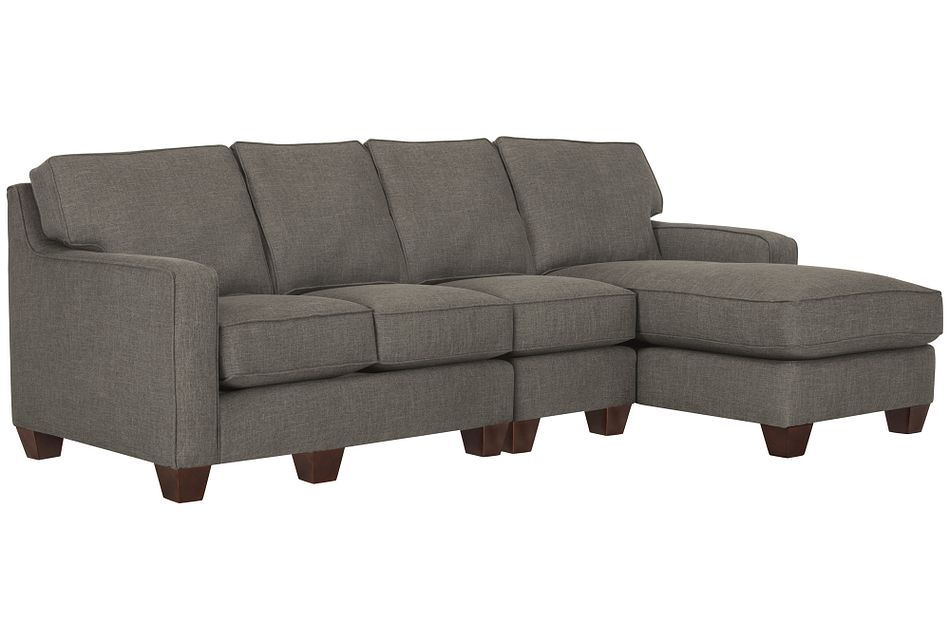 York Dark Gray Fabric Small Right Chaise Sectional