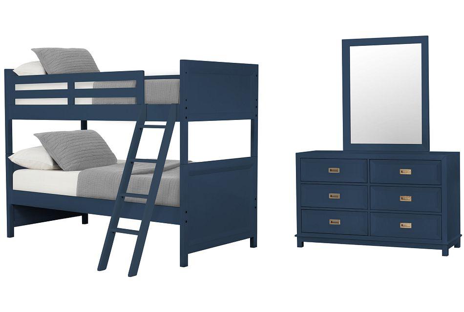 Ryder Dark Blue Bunk Bed Bedroom Baby Kids Bedroom Sets