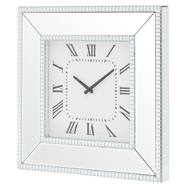 Edie Silver Mirrored Wall Clock (1)