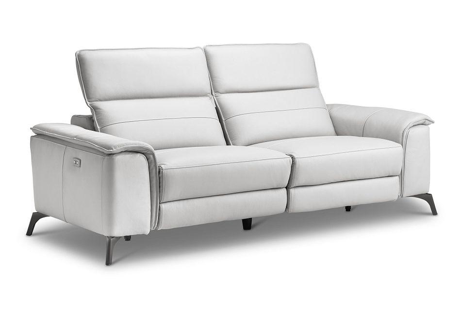 Pearson White Leather Power Reclining Sofa