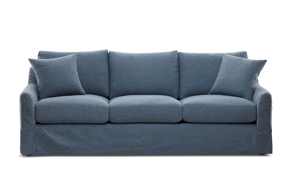 Madelyn Blue Fabric Sofa Living Room
