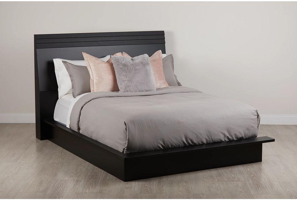 Midtown Black Wood Platform Bed