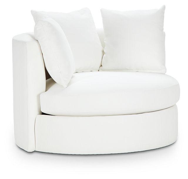 Merrick White Fabric Swivel Chair (1)