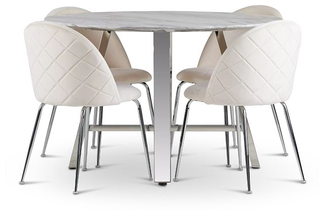 Capri Stainless Steel Ivory Round Table & 4 Upholstered Chairs (1)