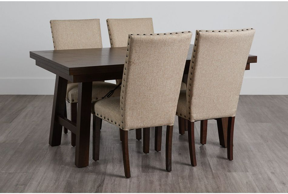 Jax Beige Rect Table & 4 Upholstered Chairs