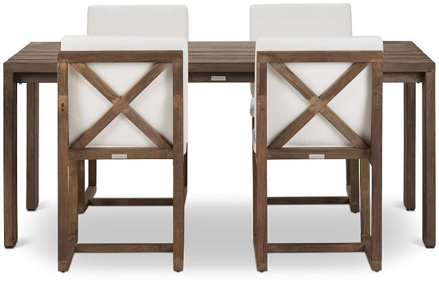 """Linear 70"""" White 70"""" Teak Table & 4 Cushioned Side Chairs (2)"""
