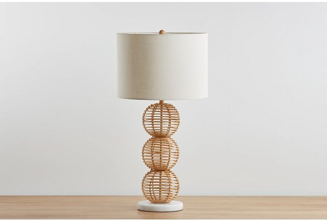 Bamboo Beige Rattan Table Lamp