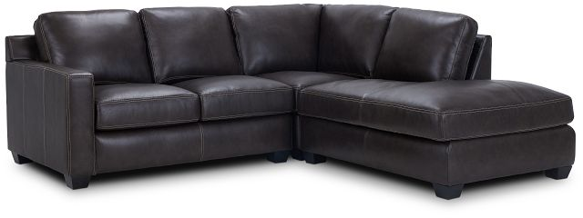 Carson Dark Brown Leather Right Bumper Sectional (1)
