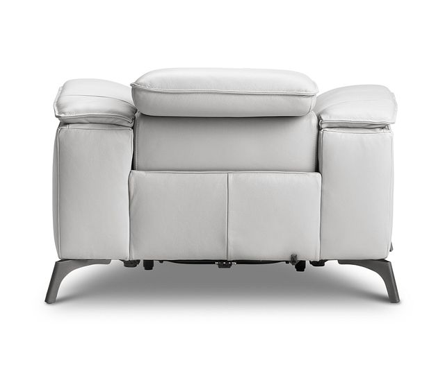 Pearson White Leather Power Recliner With Power Headrest