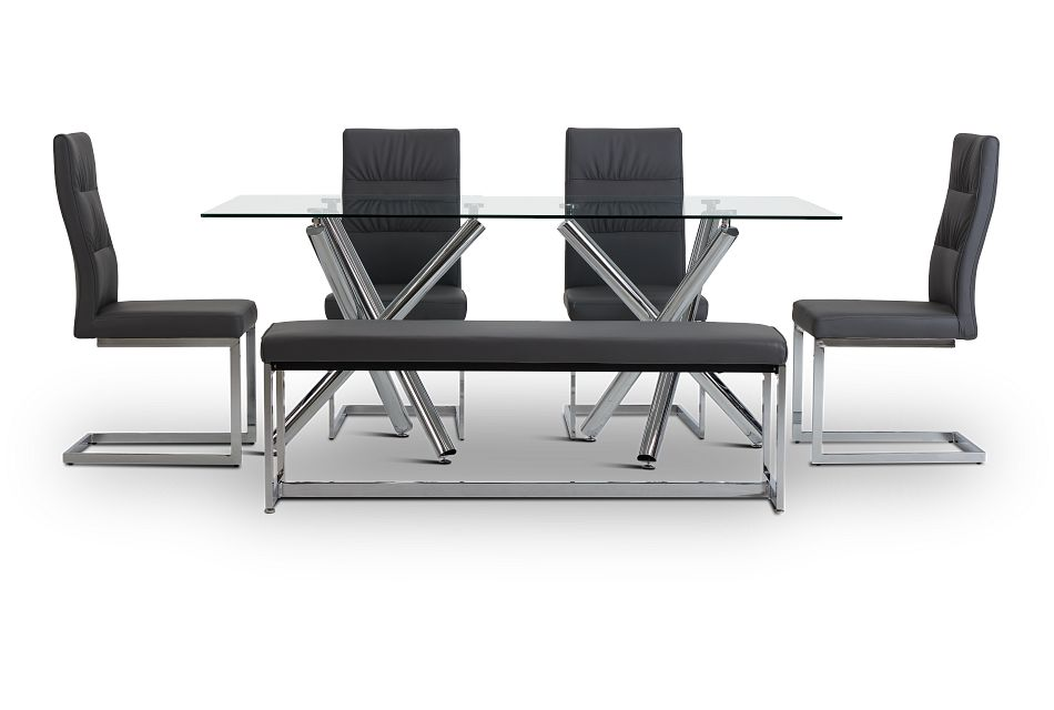 Quincy Glass Gray Table, 4 Chairs & Bench,  (3)
