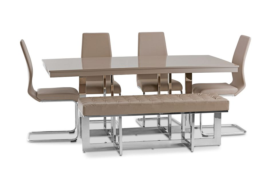Cortina Champagne Table, 4 Chairs & Bench
