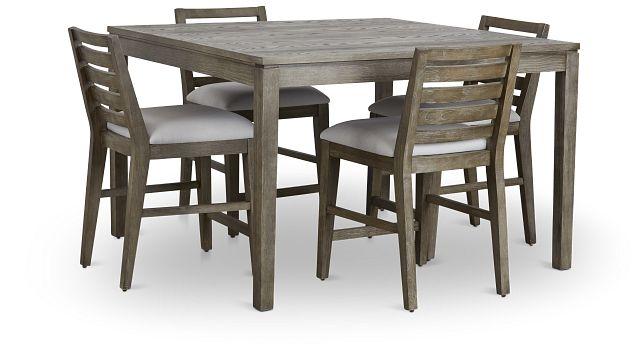 Bravo Dark Tone Square High Table & 4 Slat Barstools (1)