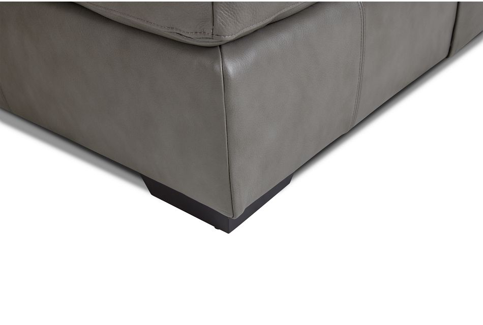 Dawkins Gray Leather Large Right Chaise Sectional
