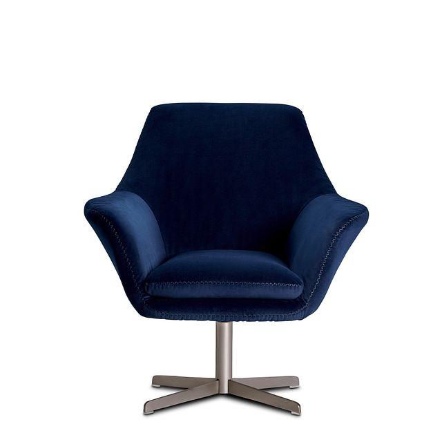 Xander Dark Blue Velvet Swivel Accent Chair (3)
