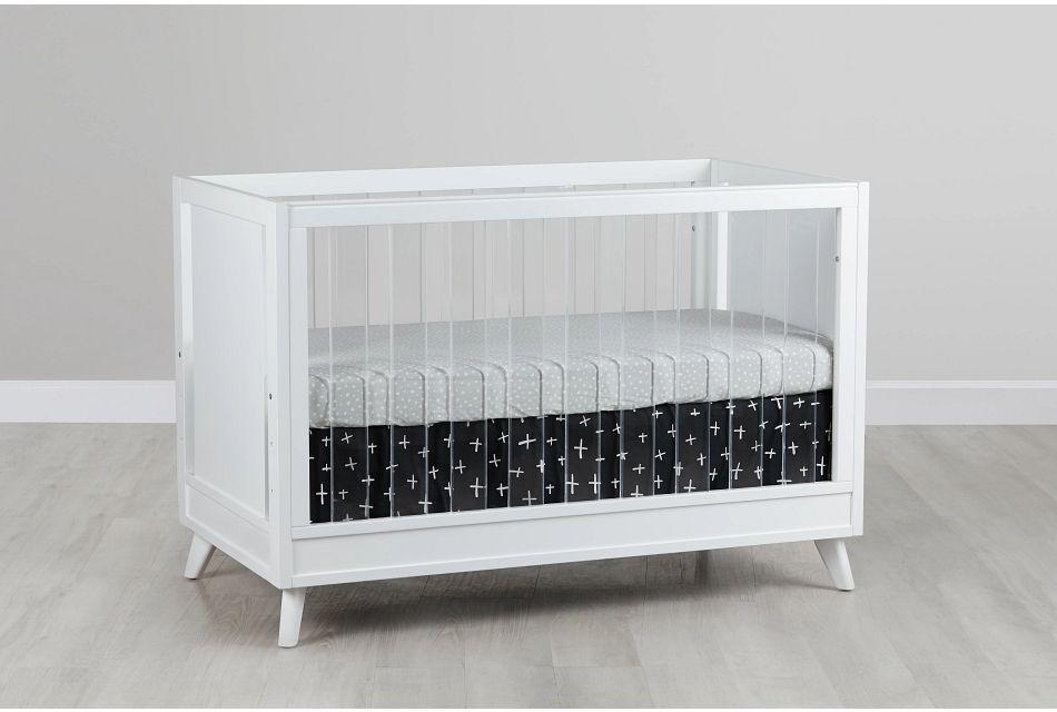 Kayson White Acrylic 3-in-1 Crib,  (0)
