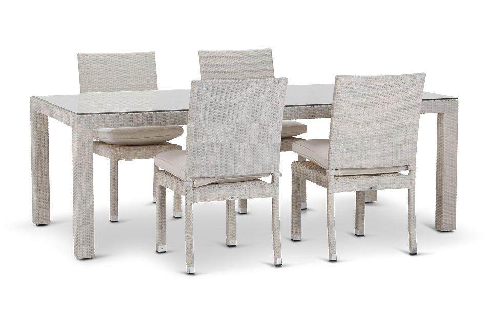 """Bahia White 84"""" Rectangular Table & 4 Chairs"""