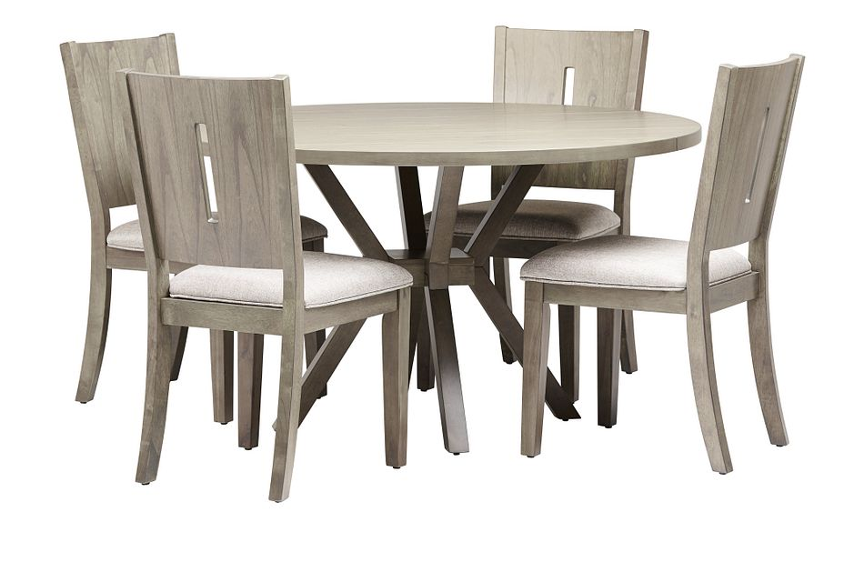 Sienna Gray Round Table & 4 Wood Chairs