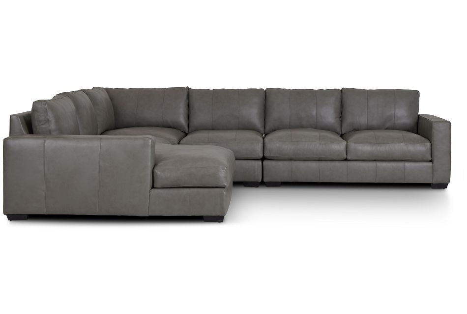 Dawkins Gray Leather Large Left Chaise Sectional,  (1)