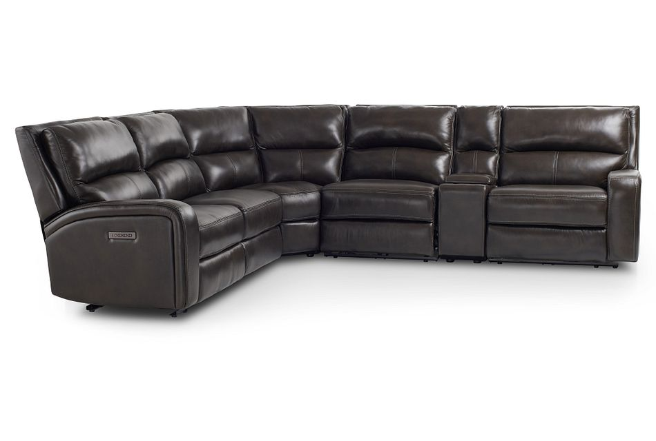 Declan Dark Brown Lthr/vinyl Small Triple Power Reclining Two-arm Sectional