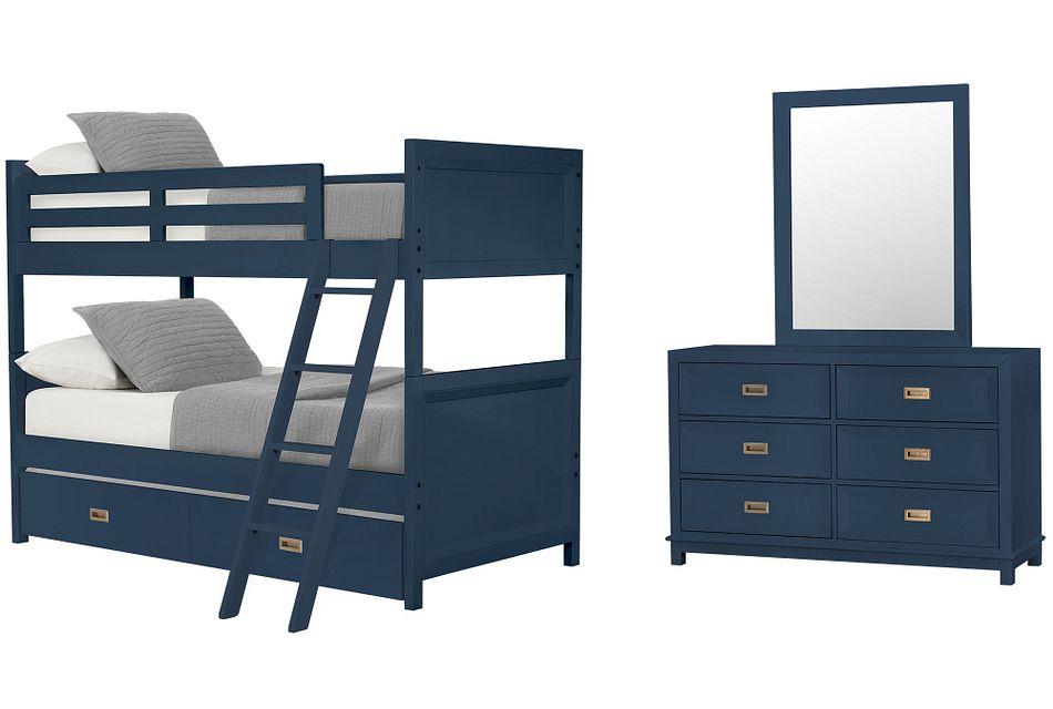 Ryder Dark Blue Bunk Bed Trundle Bedroom