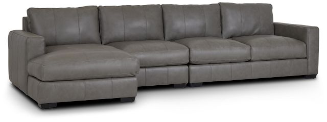 Dawkins Gray Leather Small Left Chaise Sectional (0)