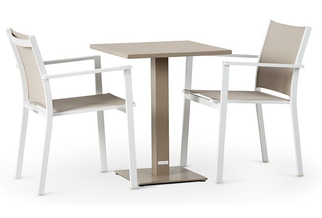 """Aventura Champagne 23"""" Square Table & 2 Chairs"""