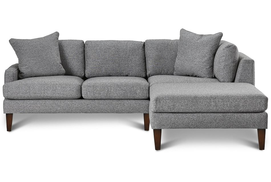 Morgan Dark Gray Fabric Small Right Bumper Sectional W/ Wood Legs