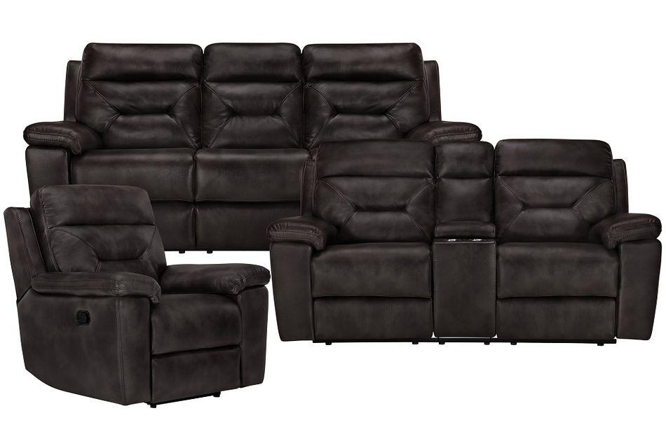 Phoenix Dark Gray Micro Manually Reclining Living Room