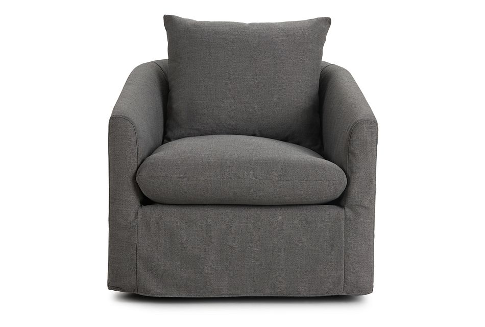 Willow Gray Fabric Swivel Chair