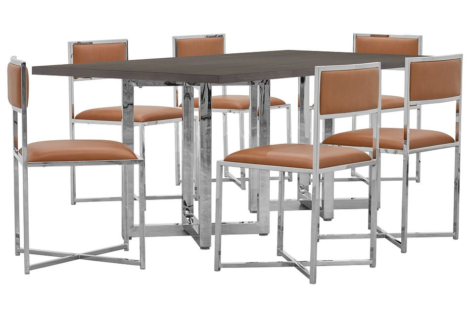 Amalfi Brown Wood Rectangular Table & 4 Metal Chairs