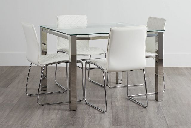 Skyline White Square Table & 4 Metal Chairs (0)