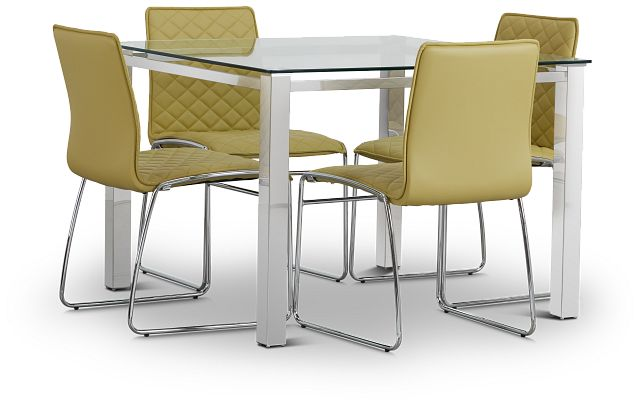 Skyline Light Green Square Table & 4 Metal Chairs (1)