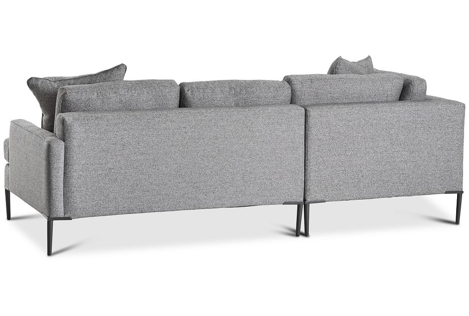 Morgan Dark Gray Fabric Small Left Bumper Sectional W/ Metal Legs