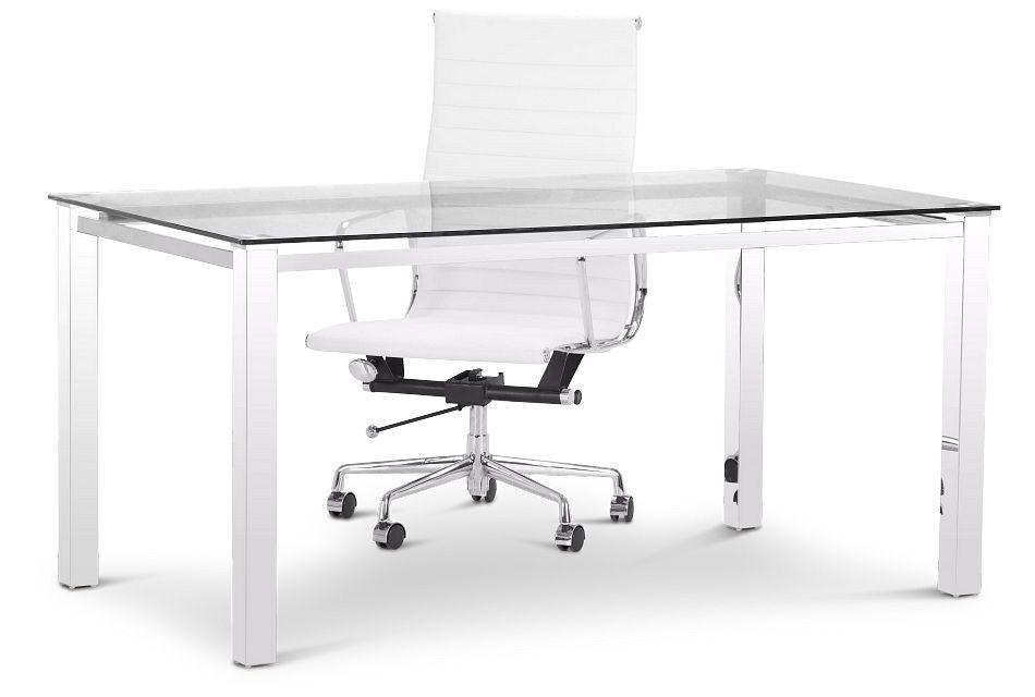 Skyline Glass Desk And Chair,  (3)