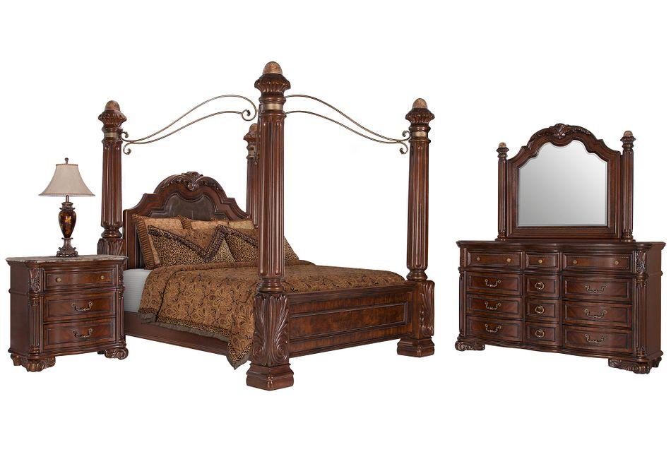 Regal Dark Tone Leather Canopy Bedroom