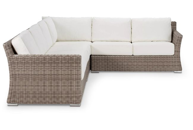 Raleigh White Woven Large Two-arm Sectional