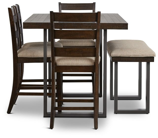 Sawyer Dark Tone High Table, 4 Barstools & High Bench (2)