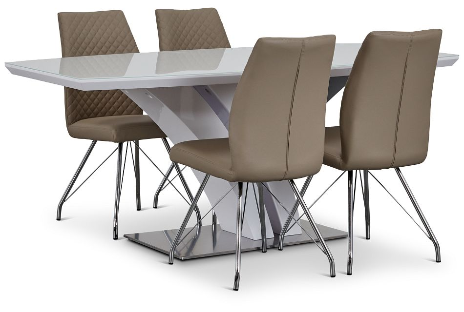 Lima Taupe Table & 4 Upholstered Chairs