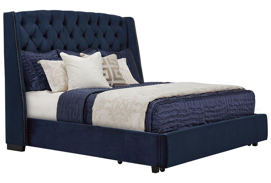 Raven Dark Blue  Uph Platform Storage Bed, King (1)