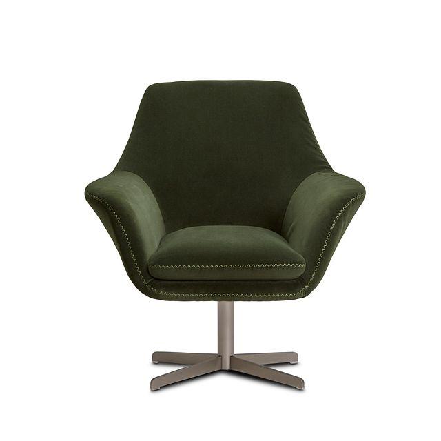 Xander Dark Green Velvet Swivel Accent Chair (3)