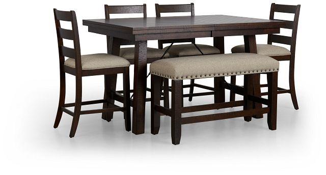 Jax Dark Tone High Table, 4 Barstools & High Bench (1)