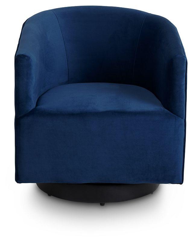Charlotte Dark Blue Velvet Swivel Accent Chair (3)