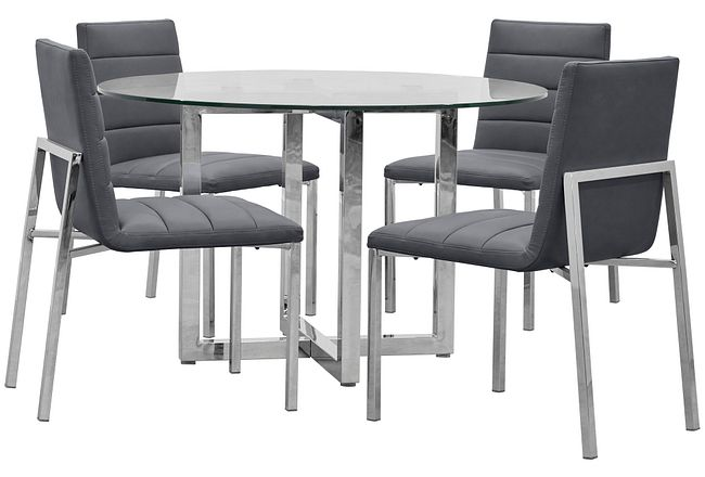 Amalfi Gray Glass Round Table & 4 Upholstered Chairs