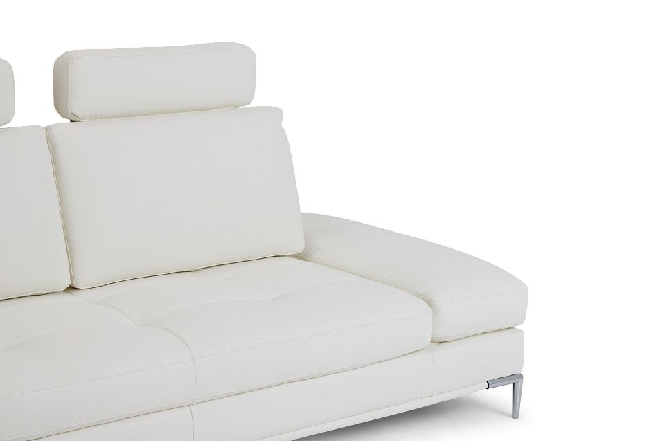Camden White Micro Sofa With Detachable Headrests