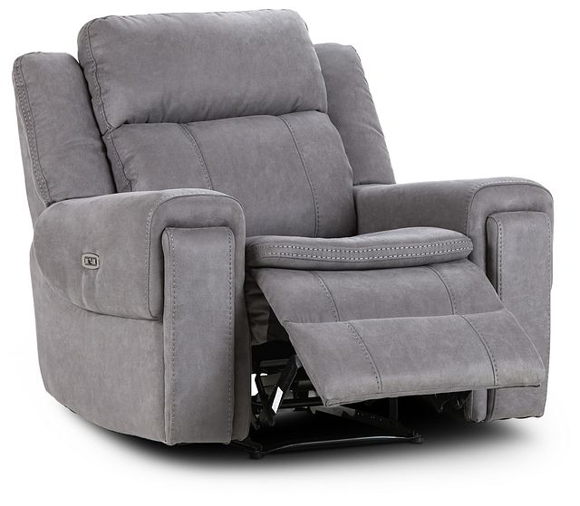 Scout Gray Micro Power Recliner With Power Headrest (2)