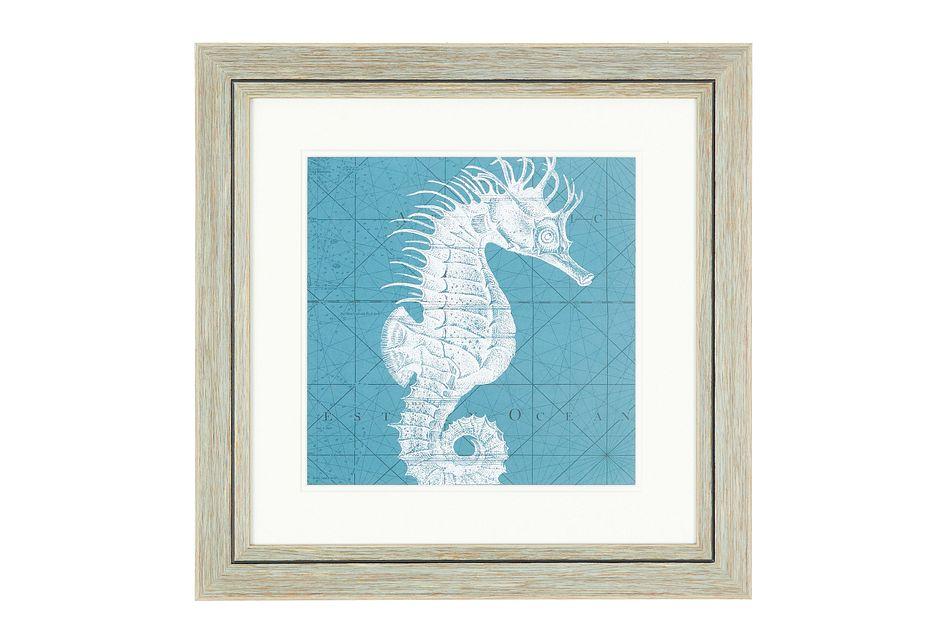 Seahorse Blue Framed Wall Art